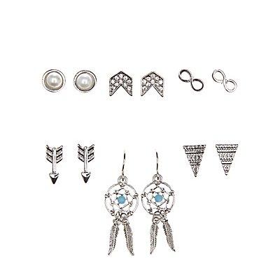 Dreamcatcher & Boho Stud Earrings - 6 Pack