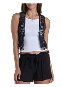 Embroidered Mesh Cropped Vest