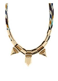 Chevron Fabric & Spike Statement Necklace