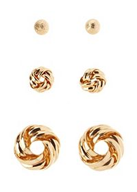 Infinity Knot Stud Earrings - 3 Pack