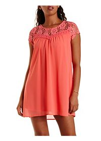 Crochet & Chiffon Babydoll Dress