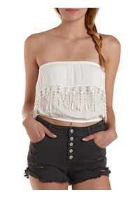Crocheted Fringe Flounce Tube Top