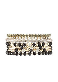 Bead & Rhinestone Stretch Bracelets - 7 Pack