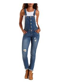Buttoned Distressed Denim Overalls