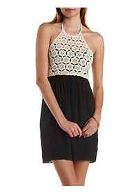 Crochet Color Block Halter Dress
