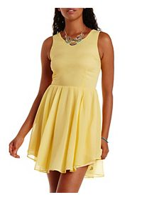 Pleated Chiffon Skater Dress