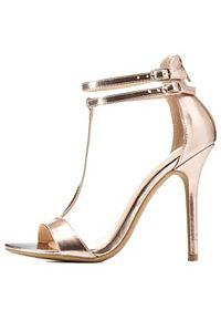 Metallic Double Ankle T-Strap Heels