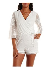 Bell Sleeve Netted Lace Wrap Romper