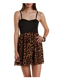 Leopard Print Chiffon Skater Dress