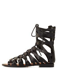 Studded Lace-Up Flat Gladiator Sandals