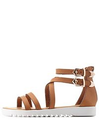 Bamboo Strappy Flat Gladiator Sandals