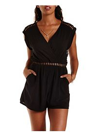 Crochet Open Back Wrap Romper