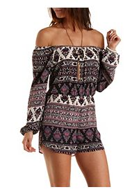 Boho Print Off-the-Shoulder Romper