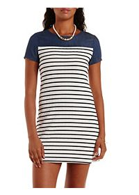 Denim & Striped Shift Dress