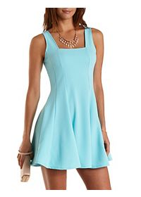 Square Neck Sleeveless Skater Dress