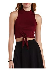 Sleeveless Knotted Mock Neck Crop Top