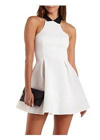 Collared Racer Front Skater Dress