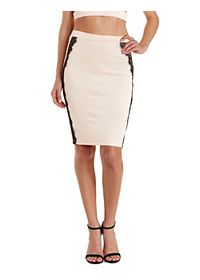 Lace-Trim Bodycon Pencil Skirt