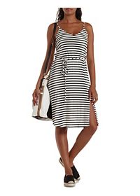 String-Belted Striped Midi Dress