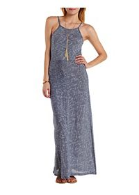 Racer Front Micro-Striped Maxi Dress