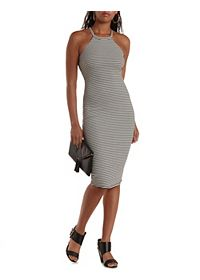 Racer Front Striped Midi Dress