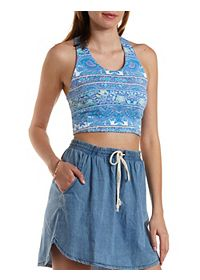 Strappy-Back Paisley Print Crop Top