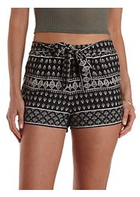 Sash-Belted Baroque Print High-Waisted Shorts