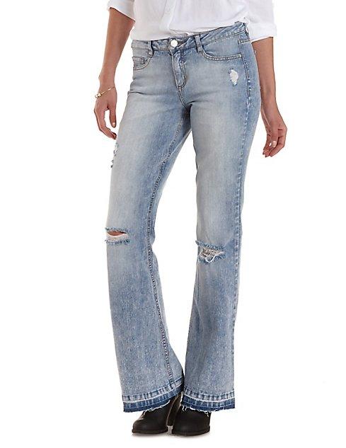 Refuge Flare Frayed-Hem Destroyed Jeans | Charlotte Russe