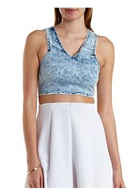 Acid Wash Denim Crop Top
