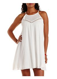 Crochet-Trim Halter Shift Dress