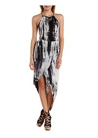 Ruched & Draped Tie-Dye Dress