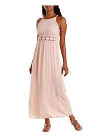Racer Front Crochet Cut-Out Maxi Dress
