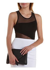 Asymmetrical Mesh Cut-Out Bodysuit