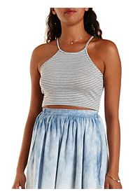 Striped & Ribbed Racer Front Crop Top