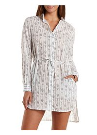 Tribal Print High-Low Shirt Dress