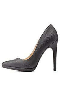 Python Textured Pointed Toe Pumps
