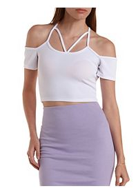 Caged Cold Shoulder Crop Top