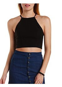 Strappy-Back Halter Crop Top