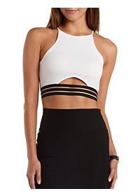 Sheer-Striped Cut-Out Crop Top