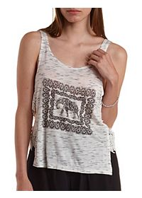 Lace-Side Elephant Graphic Tank Top