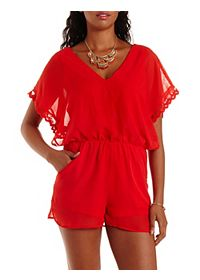Scalloped Open-Side Chiffon Romper
