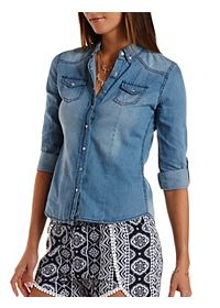 Chambray Button-Up Top