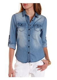 Medium Wash Chambray Button-Up Top
