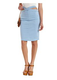 Crossover Cut-Out High-Waisted Denim Skirt