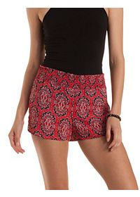 Boho Print High-Waisted Dolphin Shorts