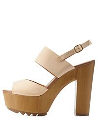 Chunky Wooden Platform Sandals