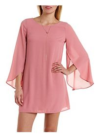 Tulip Bell Sleeve Shift Dress