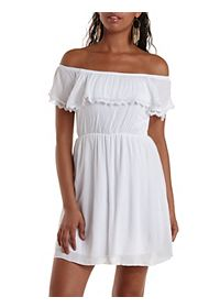 Lace-Trim Off-the-Shoulder Flounce Dress