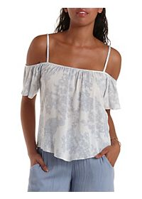 Strappy Paisley Print Cold Shoulder Top