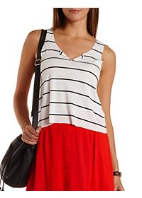 Ribbed Raw Hem Striped Tank Top